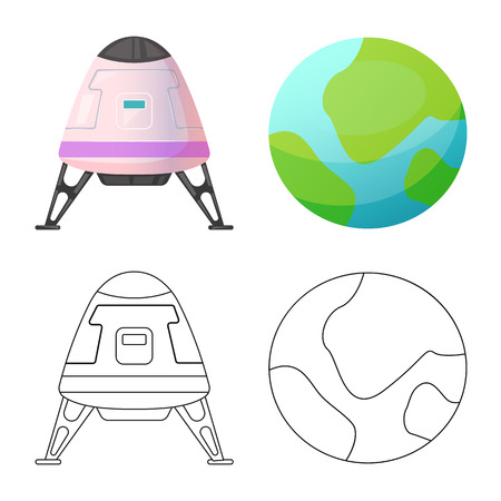Isolated object of mars and space logo. Collection of mars and planet stock symbol for web. 矢量图像