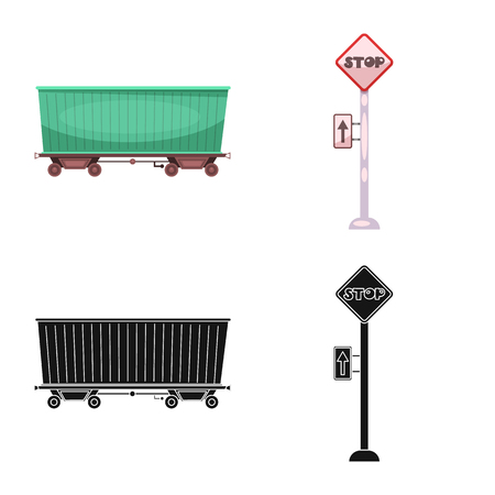 Vector design of train and station icon. Collection of train and ticket stock vector illustration.  イラスト・ベクター素材