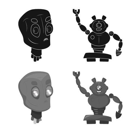 Objeto aislado de robot y logotipo de fábrica. Conjunto de símbolo de stock de robot y espacio para web. Logos