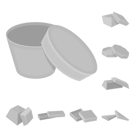 Different boxes monochrome icons in set collection for design.Packing box vector symbol stock  illustration.