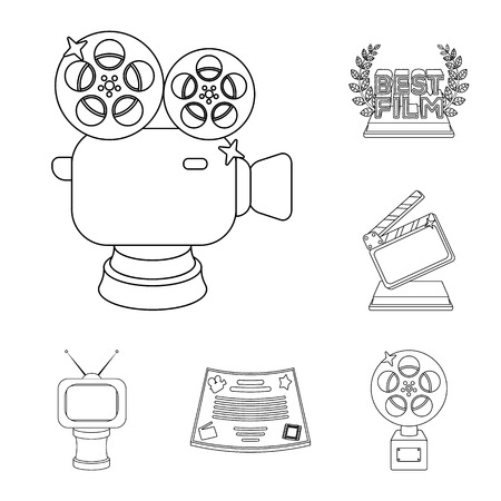 Film awards and prizes outline icons in set collection for design. The World Film Academy vector symbol stock  illustration. Stockfoto