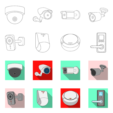 Vector design of cctv and camera icon. Set of cctv and system stock vector illustration.