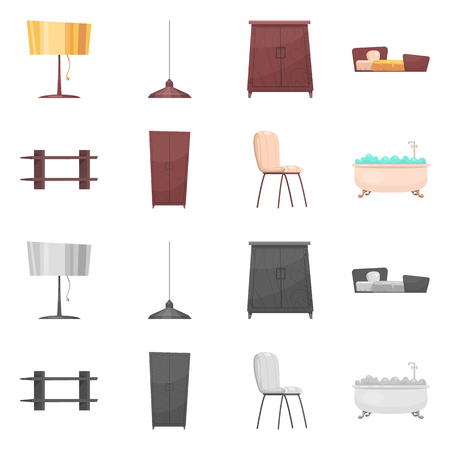 Vector design of furniture and apartment sign. Collection of furniture and home vector icon for stock. Stock Illustratie