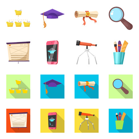 Vector illustration of education and learning icon. Set of education and school stock symbol for web.