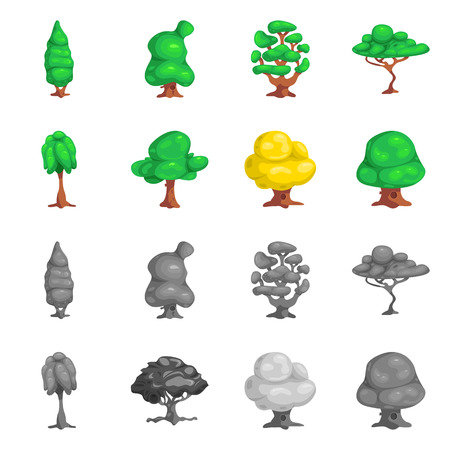 Isolated object of tree and nature icon. Collection of tree and crown stock symbol for web.