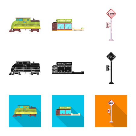 Vector illustration of train and station sign. Collection of train and ticket stock vector illustration.  イラスト・ベクター素材