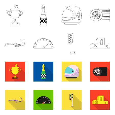 Objeto aislado de coche y logotipo de rally. Conjunto de icono de vector de coche y carrera para stock.