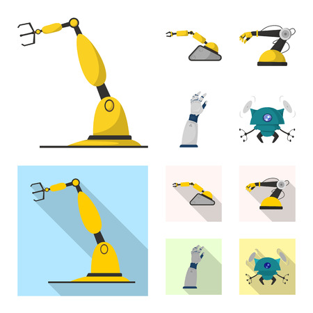 Isolated object of robot and factory sign. Collection of robot and space stock symbol for web.