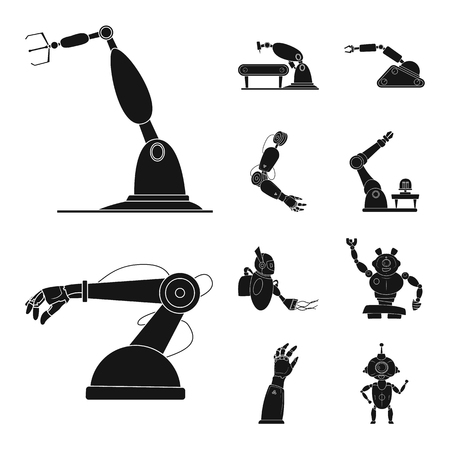 Vector illustration of robot and factory symbol. Set of robot and space stock vector illustration. 矢量图片