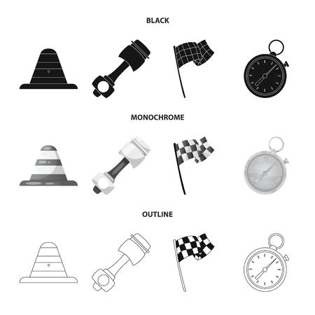 Ilustración de vector de coche y logotipo de rally. Colección de ilustración vectorial de stock de coches y carreras.
