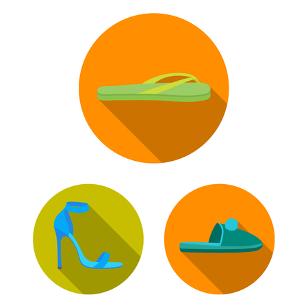 A variety of shoes flat icons in set collection for design. Boot, sneakers bitmap symbol stock  illustration. 版權商用圖片 - 108390146