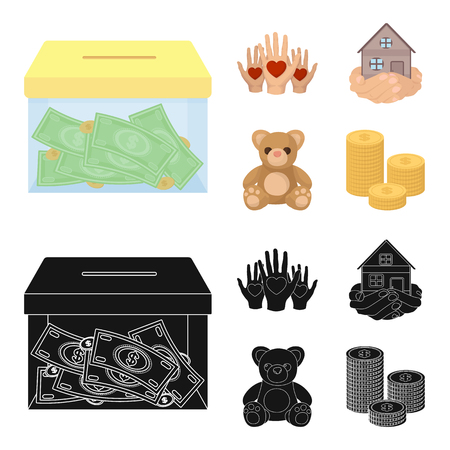 Boxing glass with donations, hands with hearts, house in hands, teddy bear for charity. Charity and donation set collection icons in cartoon,black style bitmap symbol stock illustration .
