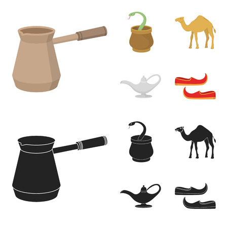 Cezve,Oil lamp, camel, snake in the basket.Arab emirates set collection icons in cartoon,black style bitmap symbol stock illustration .