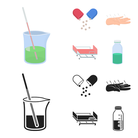 Solution, tablet, acupuncture, hospital gurney.Medicine set collection icons in cartoon,black style bitmap symbol stock illustration .