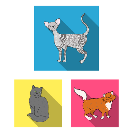 Breeds of cats flat icons in set collection for design. Pet cat bitmap symbol stock  illustration.