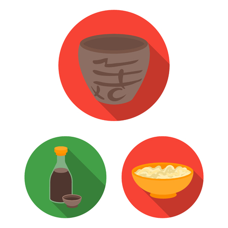 Sushi and seasoning flat icons in set collection for design. Seafood food, accessory bitmap symbol stock  illustration.