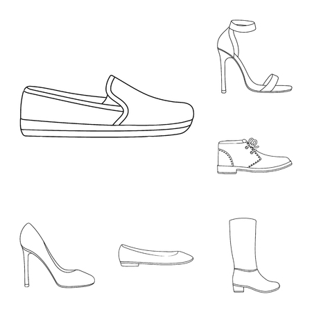 A variety of shoes outline icons in set collection for design. Boot, sneakers bitmap symbol stock  illustration.