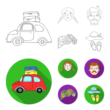 Travel, vacation, camping, map .Family holiday set collection icons in outline,flat style bitmap symbol stock illustration .