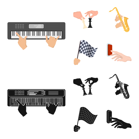 Playing on an electric musical instrument, manipulation with chess pieces and other  icon in cartoon,black style. playing on a gold saxophone, checkered flag of auto racing in hand icons in set collection.