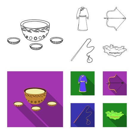 .mongol dressing gown, battle bow, theria on the map, Urga, Khlyst. Mongolia set collection icons in outline,flat style bitmap symbol stock illustration .