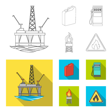 Canister for gasoline, gas station, tower, warning sign. Oil set collection icons in outline,flat style bitmap symbol stock illustration .