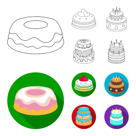 Sweetness, dessert, cream, treacle .Cakes country set collection icons in outline,flat style bitmap symbol stock illustration web. Stock Photo