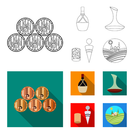 A bottle of wine in a basket, a gafine, a corkscrew with a cork, a grape valley. Wine production set collection icons in outline,flat style bitmap symbol stock illustration web. Foto de archivo - 108537650