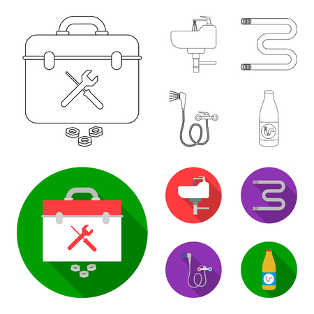Washbasin, heated towel-dryer, mixer, showers and other equipment.Plumbing set collection icons in outline,flat style bitmap symbol stock illustration web.