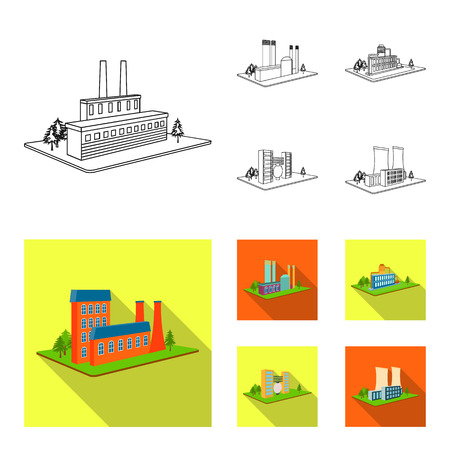 Processing factory,metallurgical plant. Factory and industry set collection icons in outline,flat style isometric bitmap symbol stock illustration web.