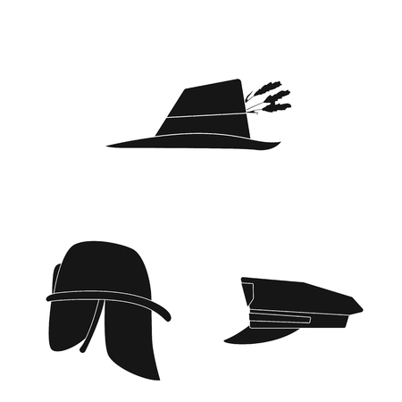 Ilustración de vector de icono de sombrero y gorra. Conjunto de símbolo de stock de sombrerería y accesorios para web.