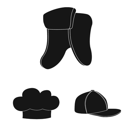 Vector illustration of headgear and cap logo. Collection of headgear and accessory vector icon for stock.