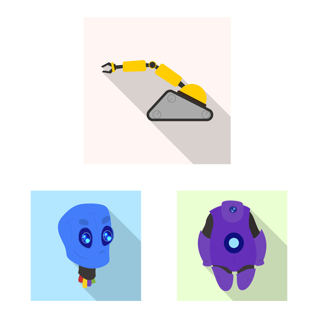 Isolated object of robot and factory symbol. Collection of robot and space stock symbol for web.