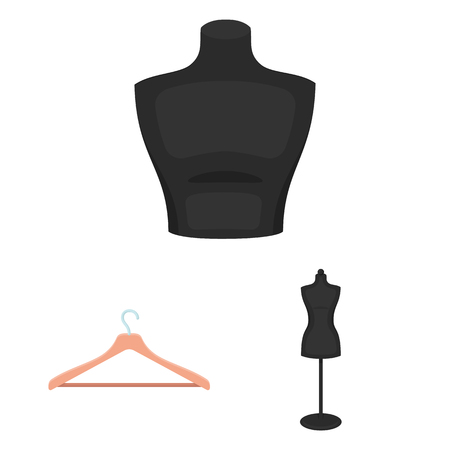 Atelier and sewing cartoon icons in set collection for design. Equipment and tools for sewing vector symbol stock  illustration. Banque d'images - 108427713