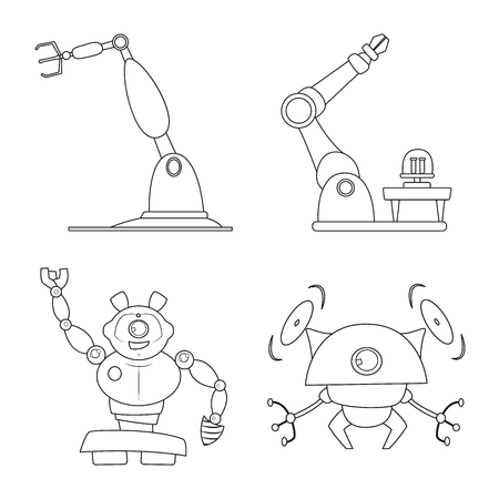 Ilustración de vector de robot y logotipo de fábrica. Colección de ilustración vectorial de stock robot y espacial. Logos