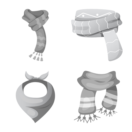 Vector design of scarf and shawl logo. Set of scarf and accessory stock symbol for web.