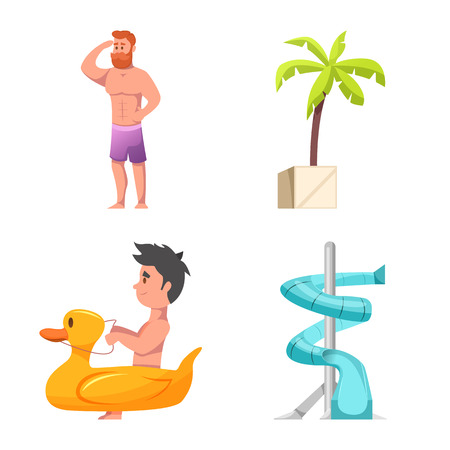 Vector design of pool and swimming sign. Set of pool and activity stock symbol for web.