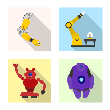 Isolated object of robot and factory logo. Set of robot and space stock vector illustration.