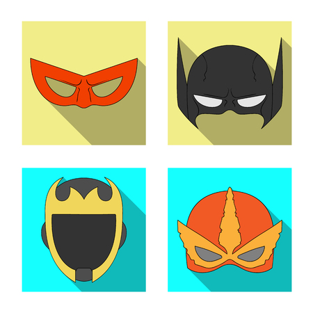 Isolated object of hero and mask icon. Collection of hero and superhero stock symbol for web.