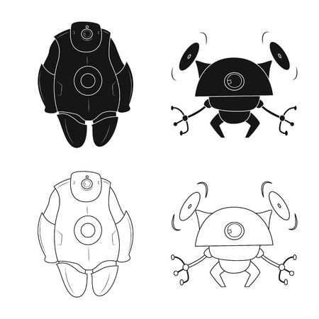 Vector design of robot and factory logo. Set of robot and space vector icon for stock.
