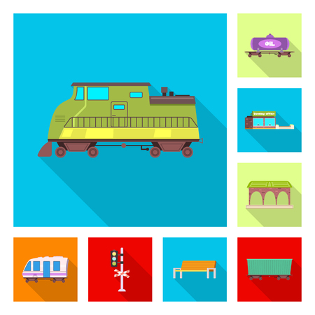 Isolated object of train and station symbol. Collection of train and ticket vector icon for stock.