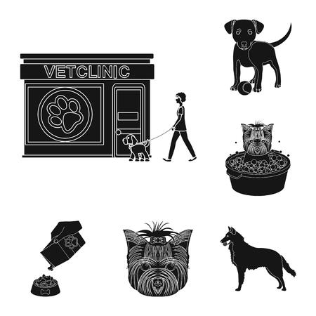 Huisdier zwarte pictogrammen in set collectie voor design. Zorg en onderwijs vector symbool stock web illustratie.