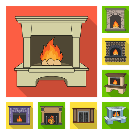 Different kinds of fireplaces flat icons in set collection for design.Fireplaces construction vector symbol stock web illustration. Ilustração