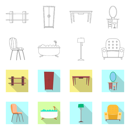 Isolated object of furniture and apartment symbol. Collection of furniture and home stock vector illustration.