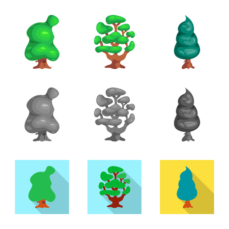 Isolated object of tree and nature symbol. Set of tree and crown stock vector illustration.