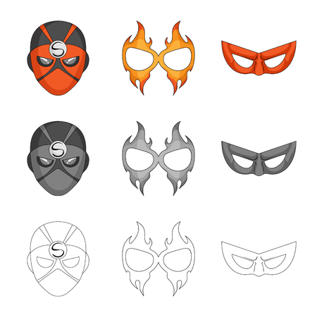 Isolated object of hero and mask sign. Collection of hero and superhero stock vector illustration. Vektorgrafik