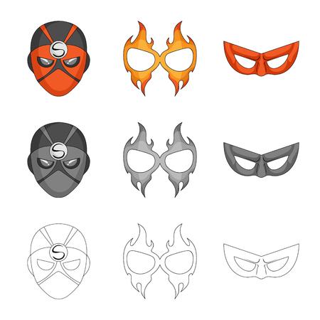 Oggetto isolato di eroe e segno di maschera. Raccolta di eroe e supereroe stock illustrazione vettoriale. Vettoriali