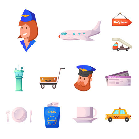 Isolated object of airport and airplane icon. Set of airport and plane stock symbol for web. Illustration