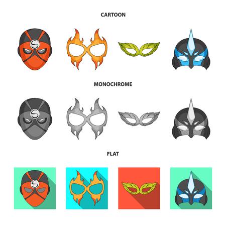 Illustrazione vettoriale di eroe e simbolo della maschera. Set di eroe e supereroe icona vettore per il magazzino.