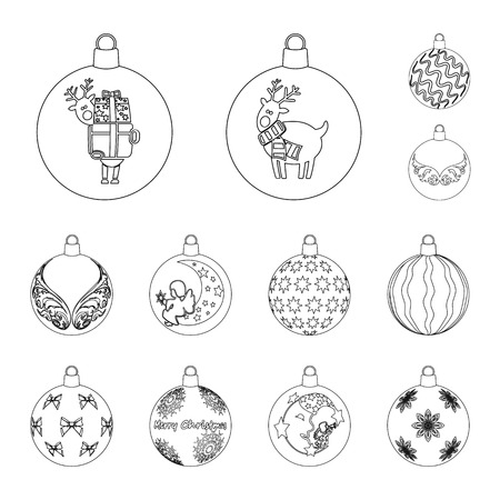 Balls for decoration outline icons in set collection for design.Christmas balls vector symbol stock web illustration. Vector Illustration