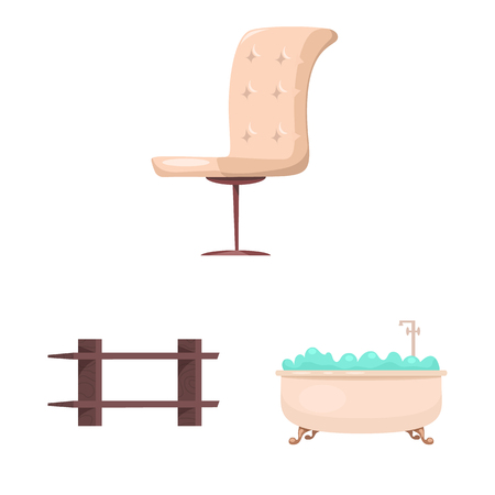 Vector design of furniture and apartment sign. Collection of furniture and home vector icon for stock. Vectores